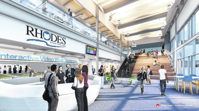 A video clip showed the proposed inside of the new downtown Rhodes State project.