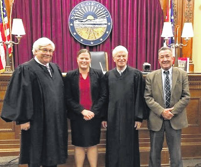 Pictured from left are Judge Martin Burchfield, general division; Steffan; Judge Kevin Taylor, juvenile/probate division, and Quatman.