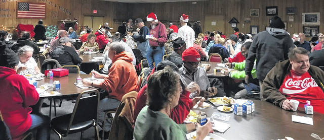 Hundreds of guests enjoyed a free meal together at Lima's VFW on Wednesday.