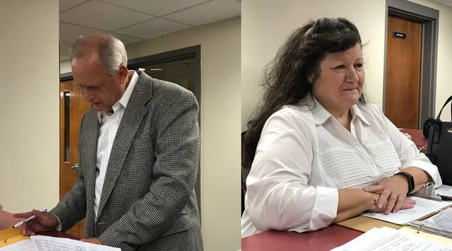 Lima businessman Greg Stolly, left in this joined photo, and former Bluffton mayor Judy Augsburger, right, filed Tuesday to run for Allen County Commissioner Jay Begg's empty seat in 2020.