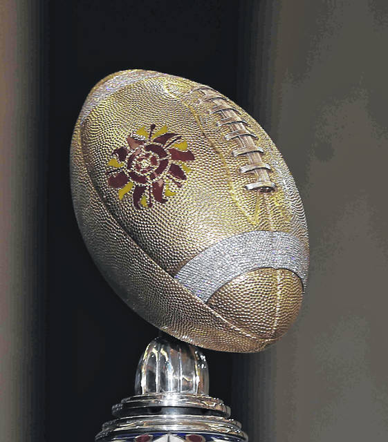 the diamond encrusted football that sits a top of the winners trophy during the Playstation Fiesta Bowl press conference  December 27th, 2019 Photo By Don Speck