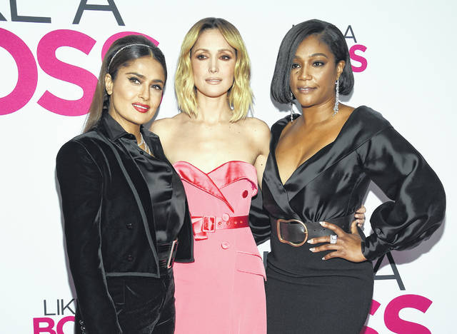 """Actors Salma Hayek, left, Rose Byrne and Tiffany Haddish attend the world premiere of """"Like a Boss"""" at the SVA Theatre on Tuesday in New York."""