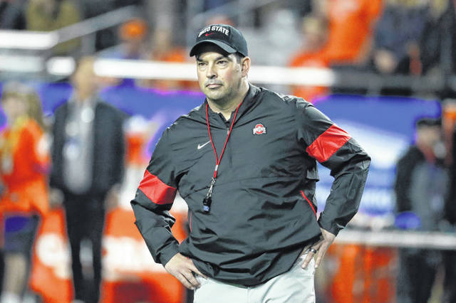 FILE - In this Saturday, Dec. 28, 2019 file photo, Ohio State head coach Ryan Day during the first half of the Fiesta Bowl NCAA college football game against Clemson in Glendale, Ariz. The playoff loss to Clemson that ended Ohio State's season will sting for a long time, coach Ryan Day acknowledged Wednesday, Jan. 15, 2020. The Buckeyes will move on, but the terrible taste in their mouths will linger and, he hopes, motivate next season's team.(AP Photo/Rick Scuteri, File)