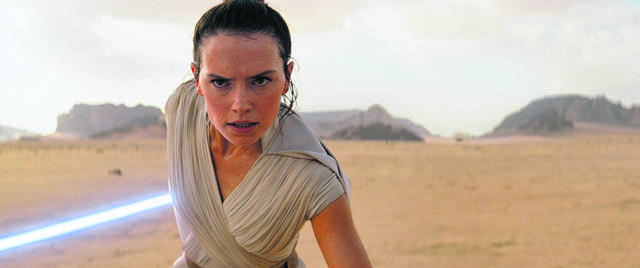 """This image released by Disney/Lucasfilm shows Daisy Ridley as Rey in a scene from """"Star Wars: The Rise of Skywalker."""""""