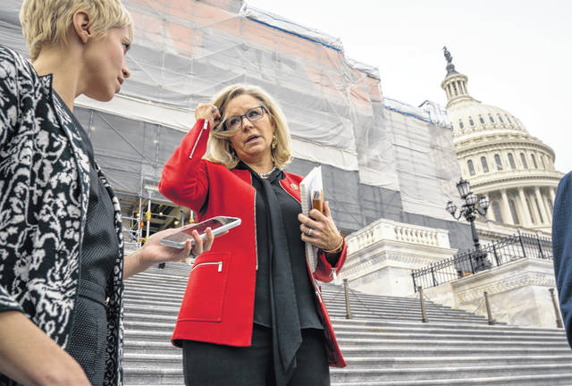 Republican Conference chair Rep. Liz Cheney, R-Wyo., speaks with reporters as lawmakers leave the Capitol in Washington, Friday, Jan. 10, 2020. House Speaker Nancy Pelosi said Friday the House will take steps next week to send articles of impeachment to the Senate for President Donald Trump's Senate trial.
