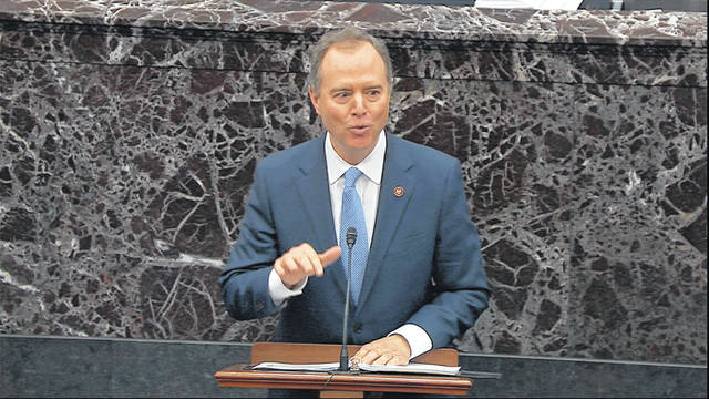 In this image from video, House impeachment manager Rep. Adam Schiff, D-Calif., speaks during the impeachment trial against President Donald Trump in the Senate at the U.S. Capitol in Washington, Friday, Jan. 24, 2020.