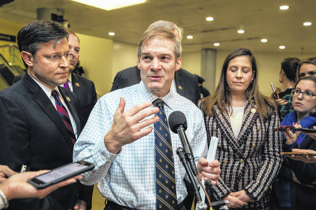 U.S. Rep. Jim Jordan, R-Urbana, alongside Rep. Mike Johnson, R-La., left, and Rep. Elise Stefanik, R-N.Y., answer questions from reporters Saturday on Capitol Hill. Jordan is part of President Donald Trump's impeachment defense team.