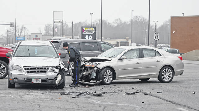 Lima Police were on the scene of a two-vehicle crash at the intersection of Cable and Allentown roads Monday afternoon.