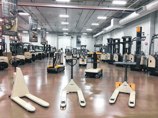 This file photo shows the Customer Demonstration Center at Crown Equipment in New Bremen. Customers have the opportunity to operate equipment prior to placing an order.