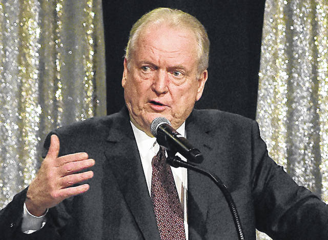 Jeffrey Jarvis addresses the UNOH 100 Years Opening Ceremony at the UNOH Event Center on Wednesday. Craig J. Orosz | The Lima News