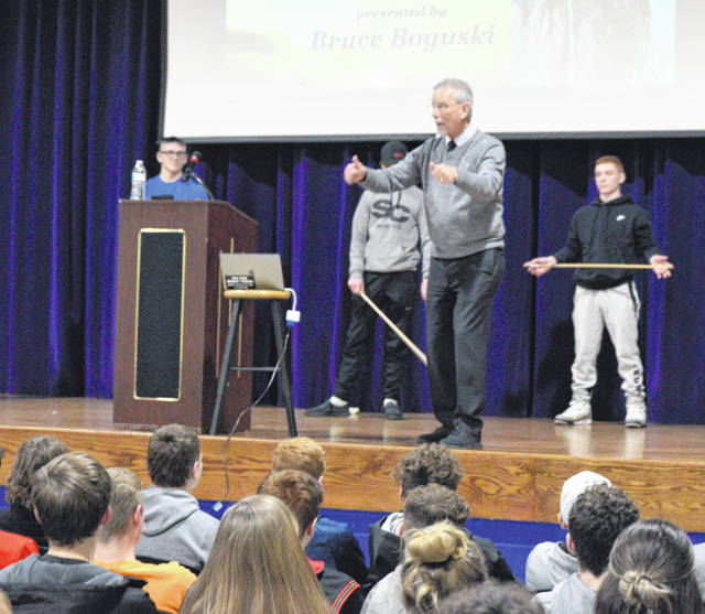 Bruce Boguski, a peak performance consultant, imparted his knowledge of the mental side of sports to Allen East High School Athletes on Wednesday night.