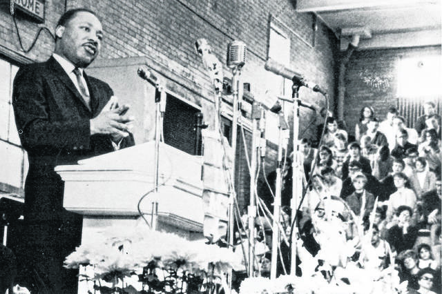 Dr. Martin Luther King Jr. addresses a crowd on the Ohio Northern University campus in Ada on Jan. 11, 1968. File Photo | The Lima News