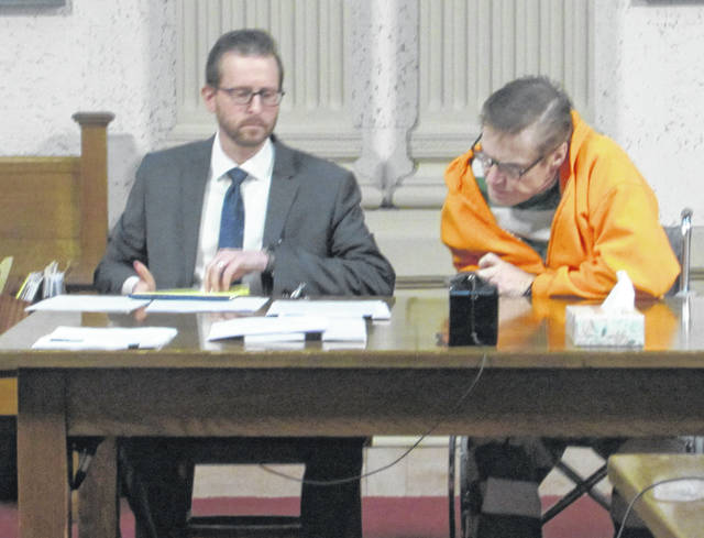 Attorney Alex Treece, left, appeared in Putnam County Common Pleas Court Thursday with his client Kenneth Richey.