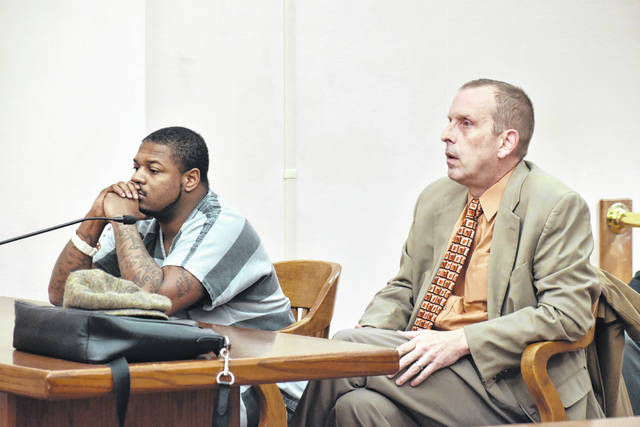 Lima attorney Kenneth Rexford, right, was allowed to step down from the case of Marquavius Shurelds, 29, of Lima, during a hearing in Allen County Common Pleas Court on Tuesday. Shurelds is charged with kidnapping, felonious assault, aggravated robbery and discharging a firearm on or near a prohibited premise in two unrelated 2018 cases.