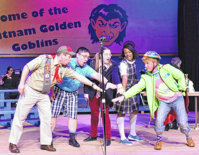 "Encore Theatre actors, from left, Brian Timpe, Anthony Taylor, Morgan Bode, Amaya Jones and Chad Rode rehearse for ""The 25th annual Putnam County Spelling Bee."""