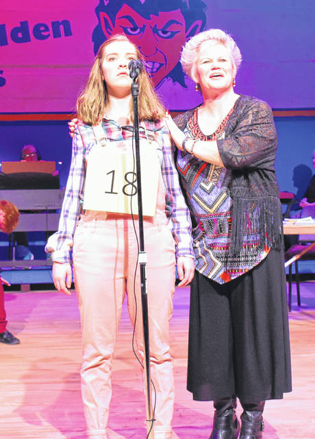 Anna Kahle's, left, character Olive Ostrovsky gets advice from spelling bee emcee Rona Lisa Peretti, played by Kristin Lee, right.