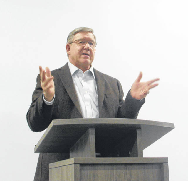 State Representative Bob Cupp (R-Lima) spoke about a proposed educational funding proposal Monday at Delphos Career Center.