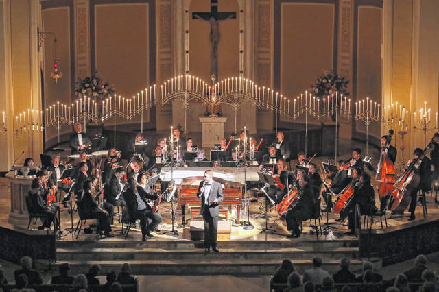 The Lima Symphony Orchestra performed Mozart's music by candlelight during its performance Saturday night at St. John's Catholic Church in downtown Lima. A second performance is planned Sunday in St. John the Evangelist Catholic Church in Delphos.