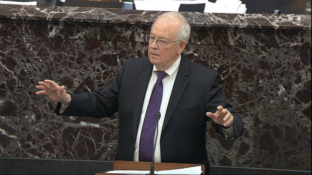 "Ken Starr, an attorney for President Donald Trump, said impeachment requires both an actual crime and a ""genuine national consensus"" that the president must go. Neither exists here, Starr said. Senate Television Photo via AP"
