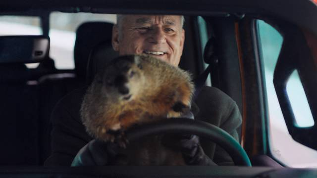 "Bill Murray reprises his role as Phil Connors from the 1993 film ""Groundhog Day,"" in a scene from Jeep's 2020 Super Bowl NFL football spot."