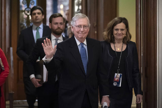 Senate Majority Leader Mitch McConnell, R-Ky., leaves the chamber after leading the impeachment acquittal of President Donald Trump at the Capitol in Washington, Wednesday, Feb. 5, 2020. (AP Photo/J. Scott Applewhite)