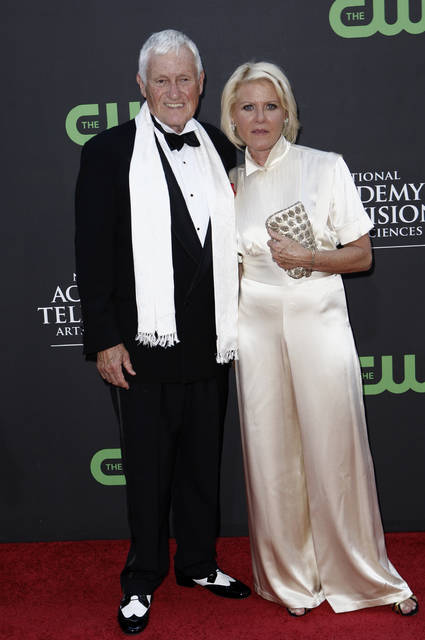 FILE - In this file photo dated Sunday Aug. 30, 2009, actor and comedian Orson Bean and Alley Mills arrive at the Daytime Emmy Awards in Los Angeles, USA. According to a statement from the Police in Los Angeles Saturday Feb. 8, 2020, Orson Bean was hit and killed by a car in Los Angeles. Bean was 91. (AP Photo/Matt Sayles, FILE)