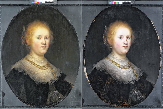 """This photo combo provided by Allentown Art Museum shows the before and after restoration of a painting called """"Portrait of a Young Woman."""" Thanks to modern technology and some expert detective work, the 1632 painting that had long been attributed to an unknown artist in Rembrandt's workshop has been judged to have been a work of the Dutch master himself."""