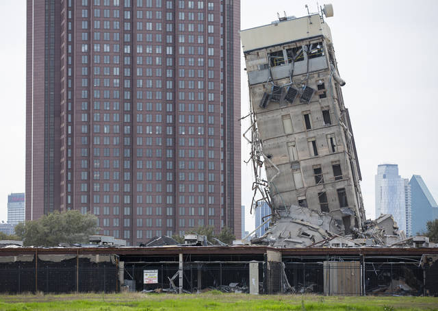 The former Affiliated Computer Services tower core shaft remains standing on Monday, Feb. 17, 2020 in Dallas. A demolition on Sunday morning left the single tower behind. (Juan Figueroa/The Dallas Morning News via AP)