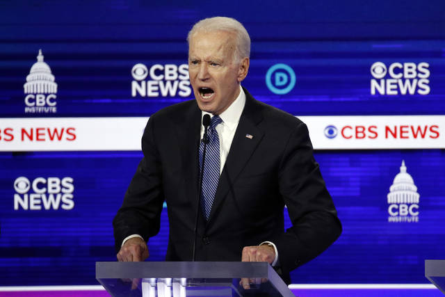 Democratic presidential candidate former Vice President Joe Biden participates in a Democratic presidential primary debate at the Gaillard Center, Tuesday, Feb. 25, 2020, in Charleston, S.C., co-hosted by CBS News and the Congressional Black Caucus Institute. (AP Photo/Patrick Semansky)