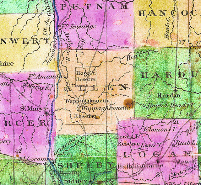 This map from 1833 shows the nearly square Allen County, which included Wappaghkonetta.