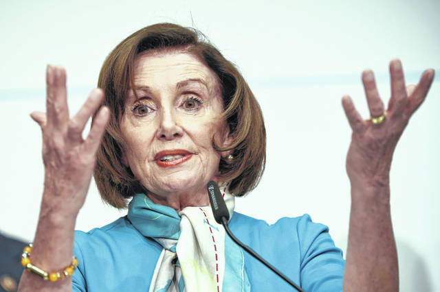 U.S. Speaker of the House Nancy Pelosi, D-Calif, attends a news conference Feb. 16 during the Munich Security Conference in Munich, Germany. A misleadingly compiled video circulating online incorrectly asserted that Pelosi lashed out at CNN host Christiane Amanpour during an interview about U.S. President Donald Trump's acquittal after being impeached.