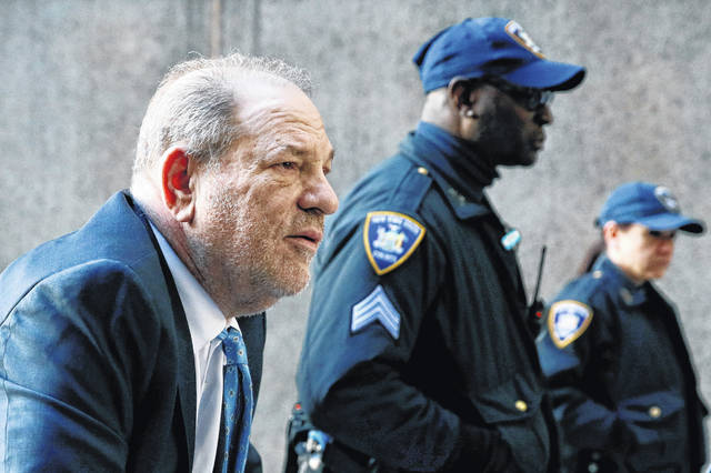 Harvey Weinstein arrives at a Manhattan courthouse as jury deliberations continue in his rape trial, Monday, Feb. 24, 2020, in New York.