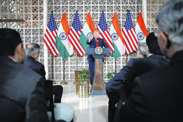 President Donald Trump speaks with business leaders at a roundtable event at Roosevelt House, Tuesday, Feb. 25, 2020, in New Delhi, India.