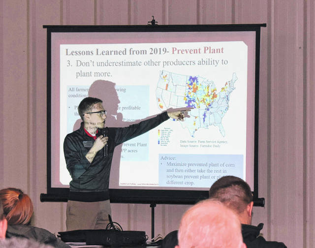Ben Brown, assistant professor of Professional Practice in Agricultural Risk Management at OSU, was one of the presenters at the 2020 Ag Outlook and Agronomy Day Thursday at the Allen County Fairgrounds. Thirty people attended the presentation.