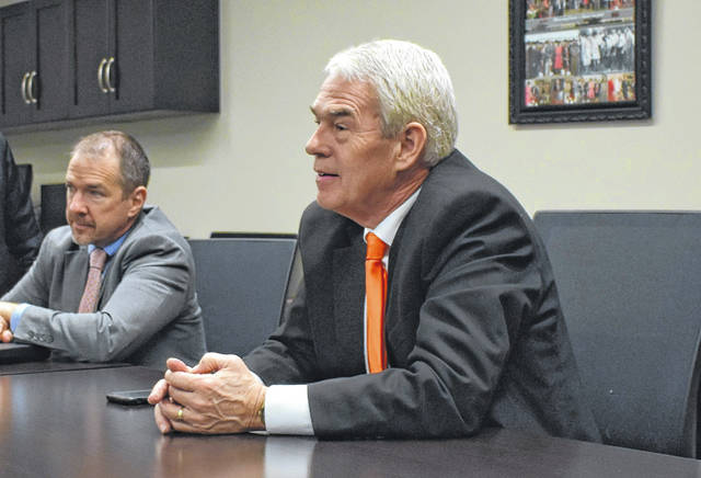 Ohio Department of Higher Education Chancellor Randy Gardner, right, toured Apollo Career Center on Monday morning and met with the administration.