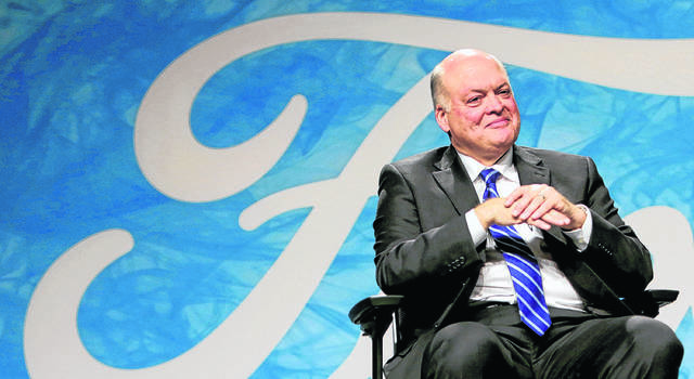 Ford CEO Jim Hackett came out of retirement after a career with Steelcase office furniture. He received a $17.75 million compensation package at Ford in 2018 or more than a third of the net profit the company reported in 2019. The company will reveal his 2019 salary in a regulatory filing in the late spring. (Elaine Cromie/Detroit Free Press)