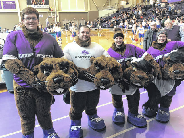 Bluffton's mascots were revealed during a doubleheader against Hanover on Feb. 15. Revealed were Jarod Siekman, Robert McMullen-Rupert, Cara Hamilton and Grace Zachrich.