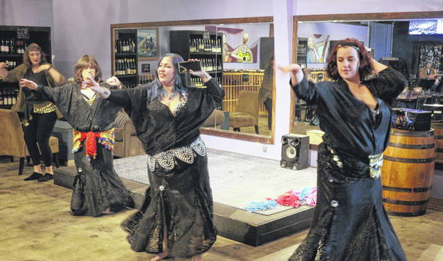 Troupe Zephyr put on a belly dancing exhibition at Vino Bellissimo Sunday.