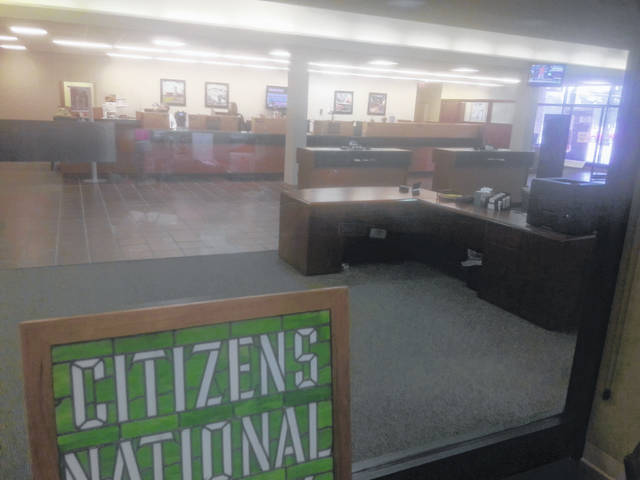 The first Citizens National Bank stained glass sign can be found in the extensive lobby in Bluffton's main branch.