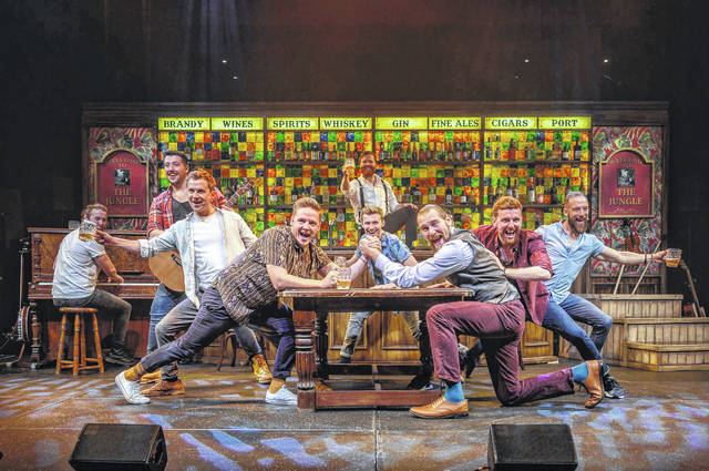 """Choir of Man"" tells the story of nine male characters through live music and high-energy choreography, all set in a traditional British-style pub."