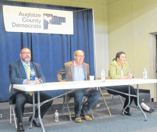 From left are 4th District Congressional Candidates Jeffrey Sites, Mike Larsen and Shannon Freshour during a debate Thursday night at the Union Hall in St Marys.