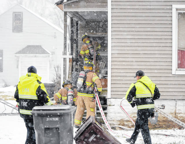 Lima Firefighters respond to a house fire at 533 N. McDonel on Sunday afteernoon.