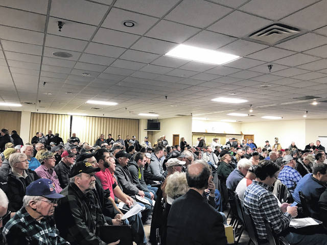 A standing room only crowd gathered at the Eagles in Delphos on Wednesday to hear about Gov. Mike DeWine's new H2Ohio initiative, a voluntary conservation program targeting northwest Ohio farmers in 2020.