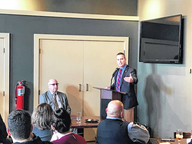 Allen County Commission President Cory Noonan talks to the Allen County Bar Association at The Met on Friday.