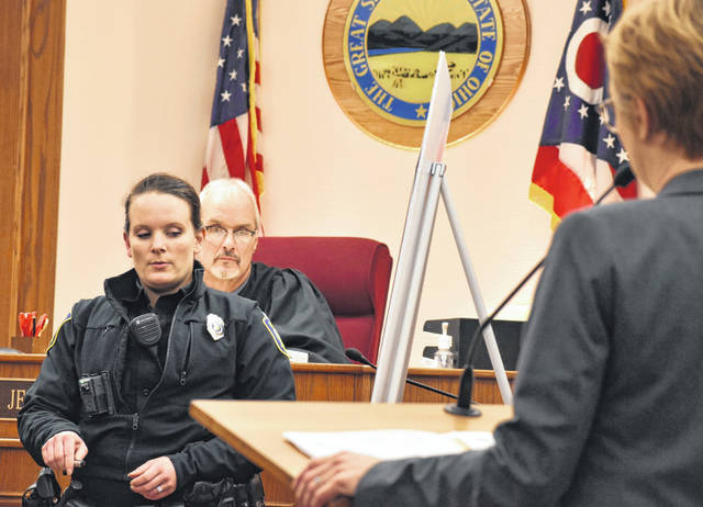 Lima Police Department officer Rachel Scott testified Tuesday as the trial of Julia Slayton got underway. Slayton is charged with discharging a weapon into a habitation, a second-degree felony. Testimony in the trial will resume Wednesday morning.