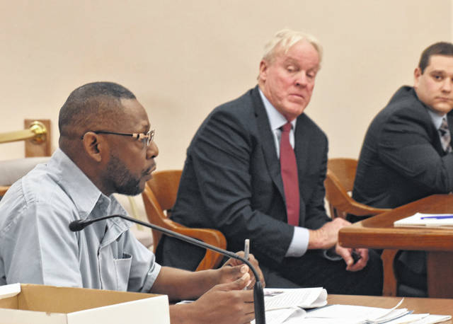 Lima resident Leonard Bingham, left, argued his case against The Lima News in Allen County Common Pleas Court Friday. Bingham has filed a civil suit against the newspaper and its parent company, alleging he had been libeled and defamed in an editorial in January 2019. Also pictured is John Bussian, legal counsel for AIM Media Midwest.