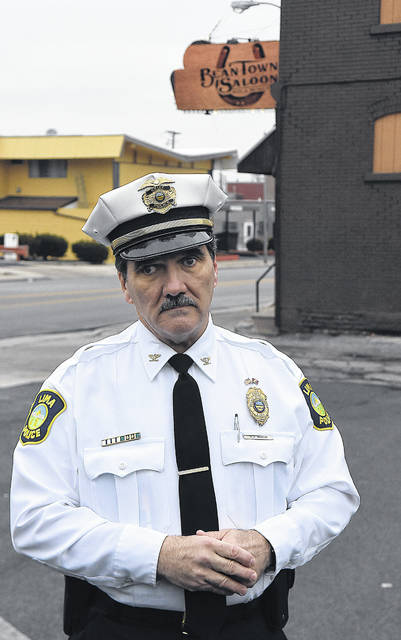 Lima Police Chief Kevin Martin stands outside Levels Lounge on Tuesday morning after three people died in a shooting.