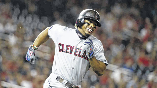 Cleveland Indians shortop Francisco Lindor runs to first base during a game against the Washington Nationals last season. Lindor has been the subject of much speculation about a possible trade with the Los Angeles Dodgers.