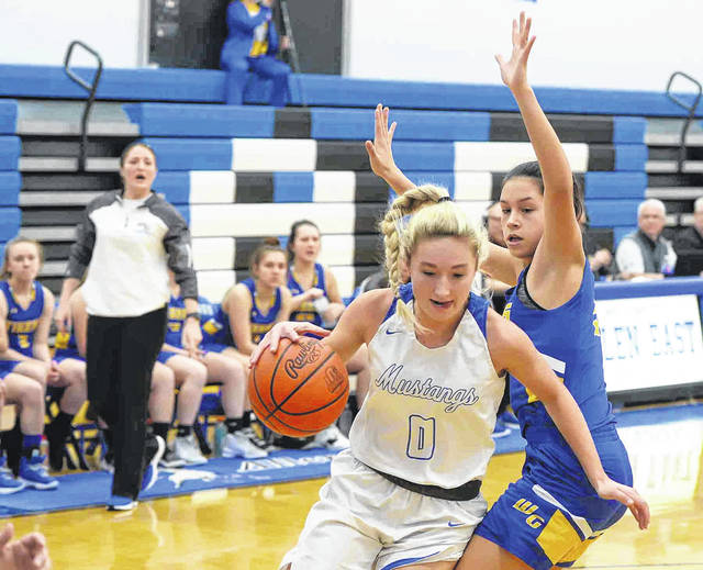 Allen East's Tori Newland drives past Waynesfield-Goshen's Zaria DeLeon during Monday's game at Allen East High School.