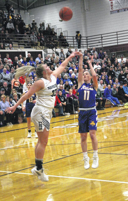 St. Marys' Kendal Dieringer puts up a shot against Napoleon's Casley Ressler during Saturday night's Division II district final.